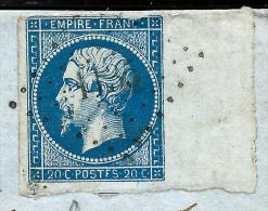 FRANCE - N°14A VARIETE POSTEF  SUR LETTRE DE DOURDAN 1860  AVEC UN  TRES JOLI BORD DE FEUILLE  A VOIR   LOT P3167 - 1853-1860 Napoleon III
