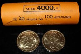 Greece Roll 100 Drachmai 1998 New - 40 Coins - UNC BU (Greek Drachma Drachmes Grece Drachmas) - Greece