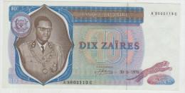 Zaire 10 Zaires 1976 Pick 23a AUNC - Zaire