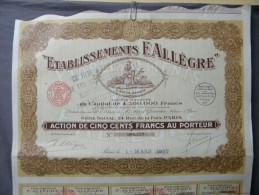Action Coupon De 500 Francs :  Etablissements F. Allègre - Paris Le 1 Mars 1927 - Banque & Assurance