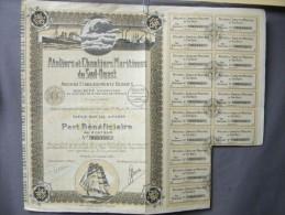 Action Coupon  : Ateliers Maritimes Du Sud Ouest- Ancien établissements Desbats  - Paris Le 7 Janvier 1924 - Banque & Assurance