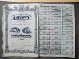 Action Coupon  Espagne : Compania De Las Minas Y Fundiciones De Zubelzu : 50 Pesetas  1913 - Banque & Assurance