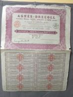Action Coupon : Agnés - Decoll -100 Francs Au Porteur - Paris  1930 - Banque & Assurance