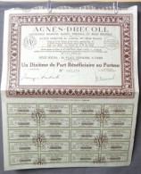 Action Coupon : Agnés - Decoll - Un Dixiéme De Part Bénéficiaire  Au Porteur - Paris  1928 - Banque & Assurance