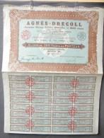 Action Coupon : Agnés - Decoll -  100 Francs Au Porteur Série B   - Paris  1930 - Banque & Assurance