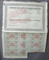 Action Coupon : Compagnie Des Office-Buildings Français -  500 Francs Au Porteur Série B   - Paris  1929 - Bank En Verzekering