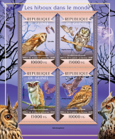 gu15117a Guinea 2015 Owls of the World Birds s/s