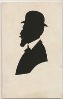 Ombre Chinoise Profil Decoupage Papier Homme Au Chapeau Melon Et Moustaches - Cartes Postales