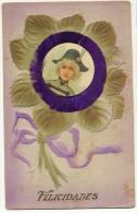 Carte Gaufrée Medaillon Velours Femme Militaire - Cartes Postales