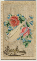 Carte Gaufrée  Velours  Et Celluloid Mandoline - Cartes Postales