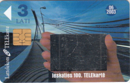 LATVIA - The 100th Telecard Of Lattlecom(with Mirror), Tirage %50000, Exp.date 06/03, Used - Lettonia