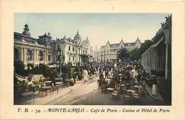 Depts Divers- Monaco - Ref  BB623 - Monte Carlo - Cafe De Paris - Casino Et Hotel De Paris - Carte Colorisee Bon Etat - - Monte-Carlo