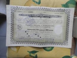 Società Pel Risanamento Di Napoli N.10o Azioni Da L.1350 Cadauna Emissione 1952 - Azioni & Titoli