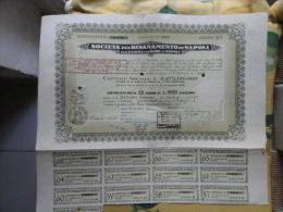 Società Pel Risanamento Di Napoli Certificato Per N. 25 Azioni Da L.1500 Cadauna Emissione 1960 + Cedole - Azioni & Titoli
