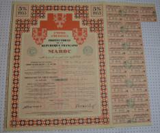 Empire Cherifien, Protectorat De La Republique Française Au Maroc, 1933, Tres Grand Format! - Banque & Assurance