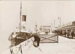 Ship Postcard Liverpool Landing Stage In The Snow 1910 Edwardian Lancashire Tug - Tugboats