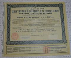 Gouvernement De La République Chinoise 5% Or 1914 - Banque & Assurance