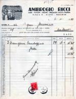 DITTA AMBROGIO RICCI-SODE-POTASSE-LISCIVA LIQUIDA-MILANO-6-10-1939-REGNO -MARCA DA BOLLO CENT.20 - Italia