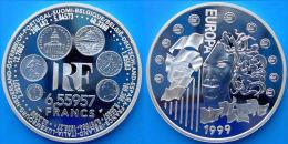 FRANCE 1,5 E 1999 ARGENTO PROOF INTRODUCTION OF THE EURO PESO 22,2g TITOLO 0,900 CONSERVAZIONE FONDO SPECCHIO UNC. - France