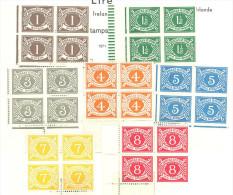 Irlande: Yvert N° Taxe 15/21**; La Serie En Bloc De 4; Fraicheur Postale; Voir Le  Scan - Segnatasse