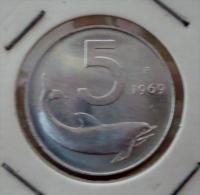 ITALIA-ITALY 5 LIRE 1969 PICK KM92 UNC - 5 Lire
