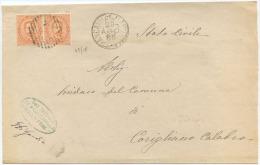 1889 UMBERTO C. 20 COPPIA COPERTA FRANCAVILLA MARITTIMA 29.8.85 NUMERALE SBARRE TRANSITO ROSSANO OTTIMA QUALITÀ (6500) - 1878-00 Umberto I