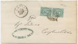 1887 UMBERTO C.5 COPPIA SU COPERTA ANNULLO NUMERALE SBARRE CARIATI (COSENZA) 20.9.87 A CORIGLIANO TIMBRO DI ARRIVO (6494 - 1878-00 Umberto I