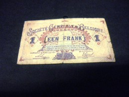 BELGIQUE 1 Franc 01/10/1917, Pick 86 B, BELGIUM - [ 2] 1831-... : Belgian Kingdom