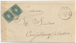 1891 STEMMA VERDE MIRTO C. 5 COPPIA DA BERNALDA (COSENZA) 5.2.92 A CORIGLIANO TIMBRO DI ARRIVO E OTTIMA QUALITÀ (A501) - 1878-00 Umberto I