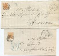 1878 C.10 TINTE DIFFERENTI SU 2 COPERTE 14.12.78 E 11.1.78 DA CORIGLIANO A ROSSANO E COSENZA A CORIGLIANO TIMBRI ARRIVO - Storia Postale