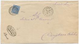 1879 C. 10 COPERTA DA FRANCAVILLA MARITTIMA ANNULLO SBARRE CASSANO ALL' IONIO 18.9.79 TIMBRO ARRIVO E OTTIMA QUALITÀ - 1878-00 Umberto I