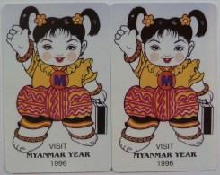 MYANMAR - URMET - MPT - Set Of 2 - Visit Myanmar Year 1996 - 100 & 200 Units - Mint - Myanmar