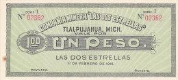 Compania Minera Las Dos Estrellas - Un Peso 1 (1915, Mine) - Mexiko