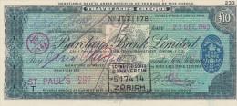 Traveller's Cheque 10 Pounds - Barclays Bank Ltd, 1960 - Colecciones