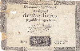 Assignat De Dix Livres, An 1 De La République - Assignats & Mandats Territoriaux