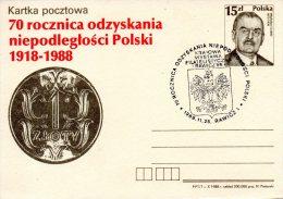 POLOGNE. Entier Postal De 1988. Wladyslaw Grabski. - Stamped Stationery