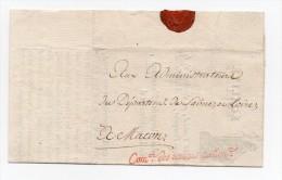 !!! MARQUE DE FRANCHISE COMMISSION DES REVENUS NATIONAUX SUR LETTRE POUR MACON DE 1794 - Postmark Collection (Covers)