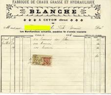 Facture - CETON - Fabrique De Chaux Grasse Et Hydraulique - BLANCHE - Imprimerie & Papeterie