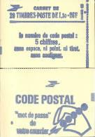"CARNET 2059-C 4a Sabine De Gandon ""CODE POSTAL"" Carnet 20 Timbres Fermé Parfait état TRES TRES RARE - Libretas"