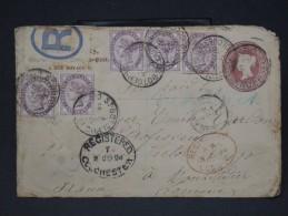 GRANDE BRETAGNE- ENTIER POSTAL RECOMMANDE D UN NEGOCIANT EN TIMBRES POSTES DE ROCHESTER POUR LA FRANCE 1894  LOT P3205 - Covers & Documents