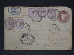 GRANDE BRETAGNE- ENTIER POSTAL RECOMMANDE D UN NEGOCIANT EN TIMBRES POSTES DE ROCHESTER POUR LA FRANCE 1894  LOT P3205