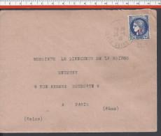 FR - 1941 - SEINE SAINT - DENIS -  N° 487 CERES SUR LETTRE DE PIERREFITE-SUR-SEINE POUR PARIS - - Marcophilie (Lettres)