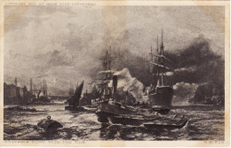 Victorian Maritime Art Postcard Dropping Down With The Tide RE Roe Boots Chemist - Tugboats