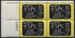 Plate Block -1972 USA Parent Teacher Association 75th Anni Stamp #1463 Blackboard Kid Education - Other