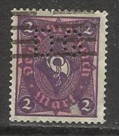 """ALLEMAGNE , Weimar , 2 P , DEUTSCHES REICH , Perforé Perfin : """" DG """" , 1922 - 1923 , N° Y&T 196 - Deutschland"""