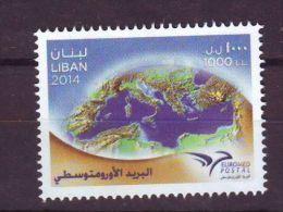 LEBANON, LIBAN EUROMED POSTAL MNH STAMP ISSUED IN 2014 - Líbano