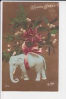 CPA ELEPHANT FANTAISIE GUI BONNE ANNEE ED OU SERIE GLORIA - Elephants