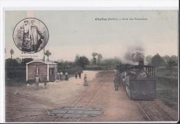 Carte 1908 CHALLES / LA GARE DES TRAMWAYS  (train) - Andere Gemeenten
