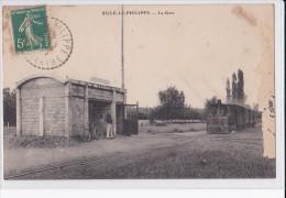 Carte 1910 SILLE LE PHILIPPE / LA GARE (train ,tramway,tramways) - France