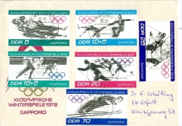 DDR FDC Mi. 1725 - 1730 Olympische Winterspiele 1972  Rodeln Skilanglauf Biathlon Skispringen .... TGST Erfurt - Hiver 1972: Sapporo